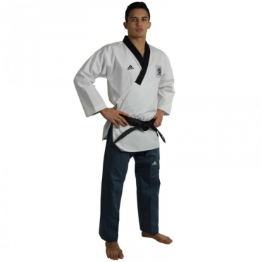 Adidas Poomsae taekwondopak heren wit/donkerblauw