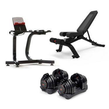 Bowflex 1090i S selecttech haltersysteem 40,8 kg pair + standaard + bench