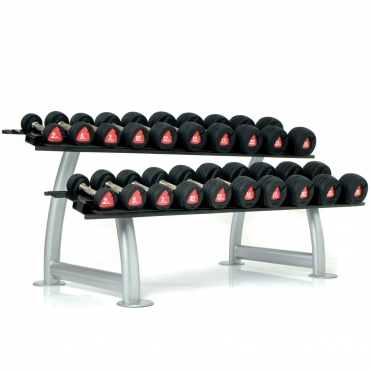 Escape Edge rubber dumbell set & rack 2,5 - 30 KG