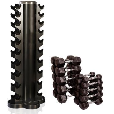Dumbell Toren zwart Inclusief rubberen Hexa Dumbells