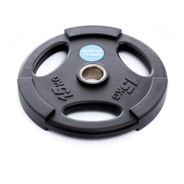 Muscle Power Olympische PU Halterschijf 15 kg Zwart MP806