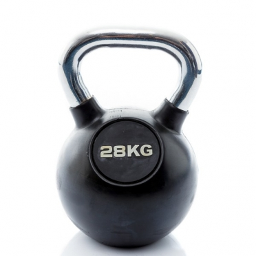 Muscle Power Kettlebell Rubber - Chrome 28 KG MP1301
