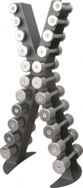 X-Line dumbbell rack with a set of chrome dumbbells 0.5 -10 kg