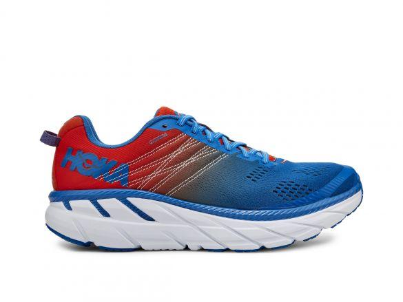 Hoka One One Clifton 6 wide hardloopschoenen rood/blauw heren  1102876-MRIB