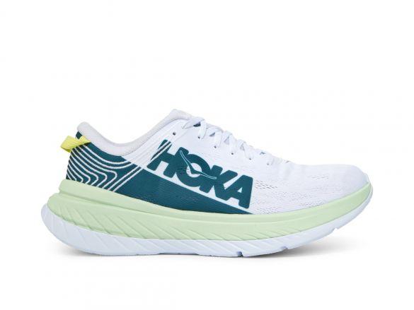 Hoka One One Carbon X hardloopschoenen wit/groen heren  1102886-GAWH