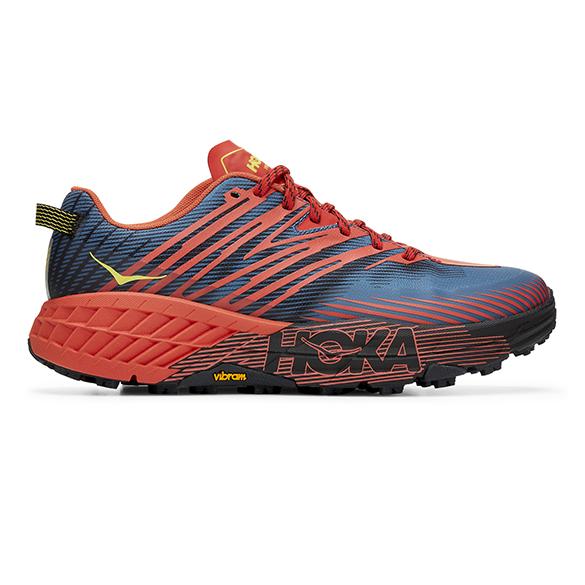 Hoka One One Speedgoat 4 trail hardloopschoenen blauw/rood heren  1106525-FPBL