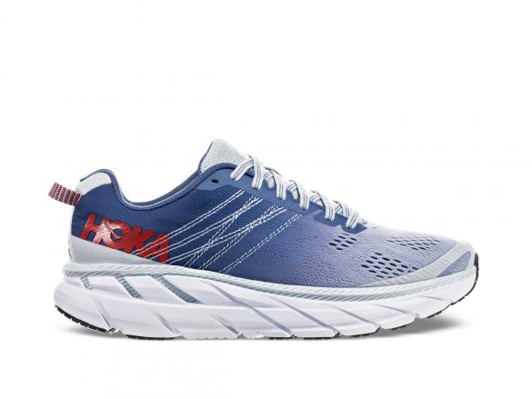 Hoka One One Clifton 6 wide hardloopschoenen blauw/wit dames  1102877-PAMB